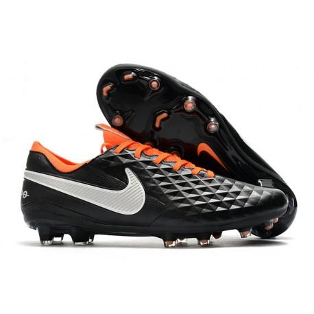 Chaussures Nouvelles Nike Tiempo Legend 8 Elite FG - Noir Blanc Orange
