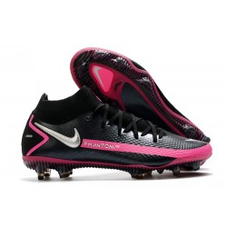 Crampons de Football Nike Phantom GT Elite DF FG Noir Argent Rose