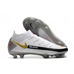 Crampons de Football Nike Phantom GT Elite DF FG Blanc Noir Or Rouge