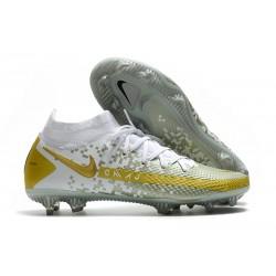 Crampons de Football Nike Phantom GT Elite DF FG Or Blanc