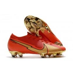 Chaussure Nike Mercurial Vapor XIII Elite FG Ronaldo CR100 Rouge Or