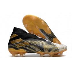 adidas Nemeziz 19+ FG Crampons de Football Noir Or Blanc