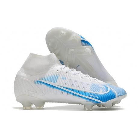 Nike Mercurial Superfly VIII Elite FG Blanc Bleu