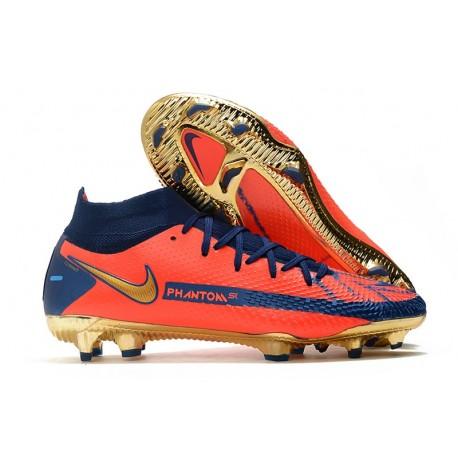 Neuf Nike Phantom GT Elite DF FG Orange Bleu Or