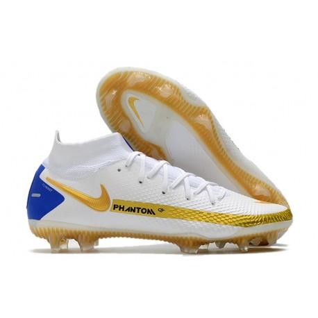 Neuf Nike Phantom GT Elite DF FG Blanc Or Bleu