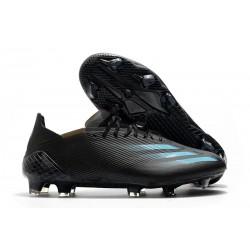 Crampons adidas X Ghosted.1 FG Superstealth - Noir Bleu cyan
