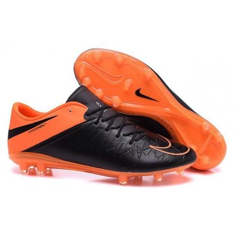 Chaussures de Foot Cuir Nike Hypervenom Phinish FG Noir Orange