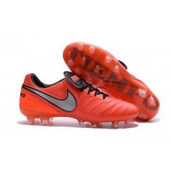 Chaussures Cuir de Kangourou Nouveau 2016 Nike Tiempo Legend VI FG Orange Blanc