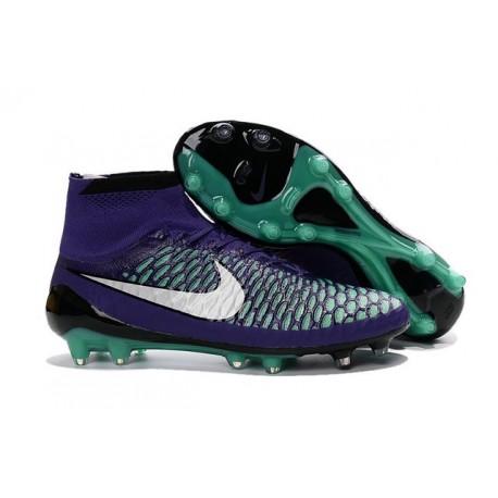 Crampon de Football Homme Nike Magista Obra FG ACC Violet Vert Blanc