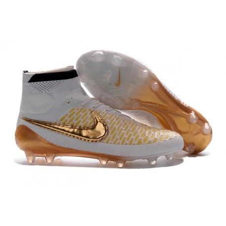 Chaussures Foot Nouvelle Nike Magista Obra FG ACC Blanc Or