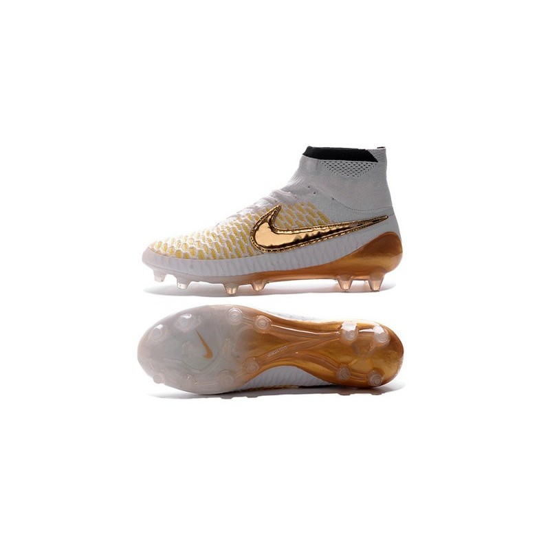 new style 1d362 64941 Chaussures Foot Nouvelle Nike Magista Obra FG ACC Blanc Or