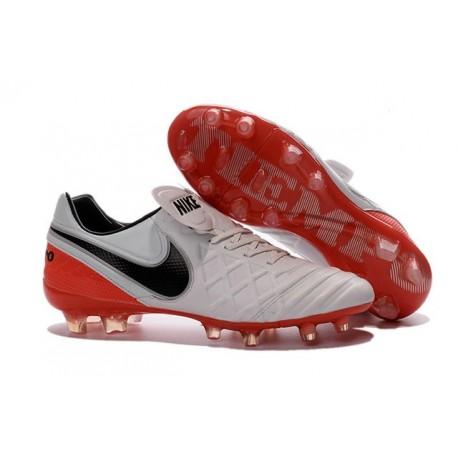 Chaussures Cuir de Kangourou Nouveau 2016 Nike Tiempo Legend VI FG Blanc Noir Rouge
