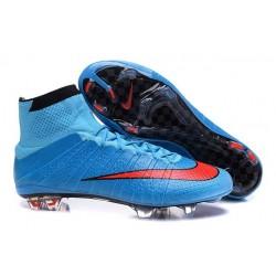 Chaussures Nouveau Nike Mercurial Superfly 4 FG Bleu Rouge