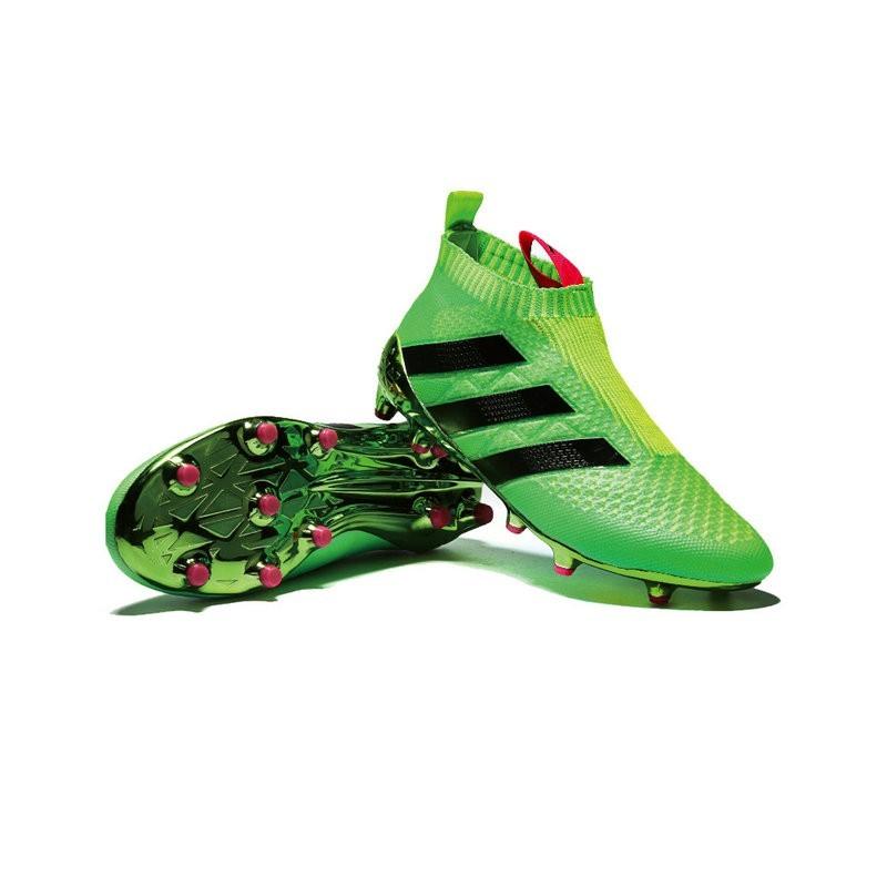 new styles 8d5db 6e6e0 Chaussure Crampons adidas Ace 16+ Purecontrol FGAG Vert Noir