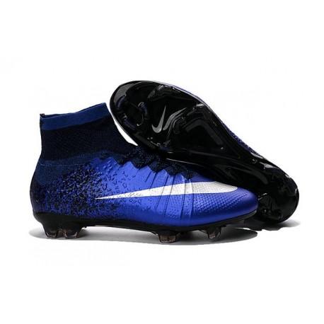 Cristiano Ronaldo Crampon Nike Mercurial Superfly 4 FG Bleu Royal Argent