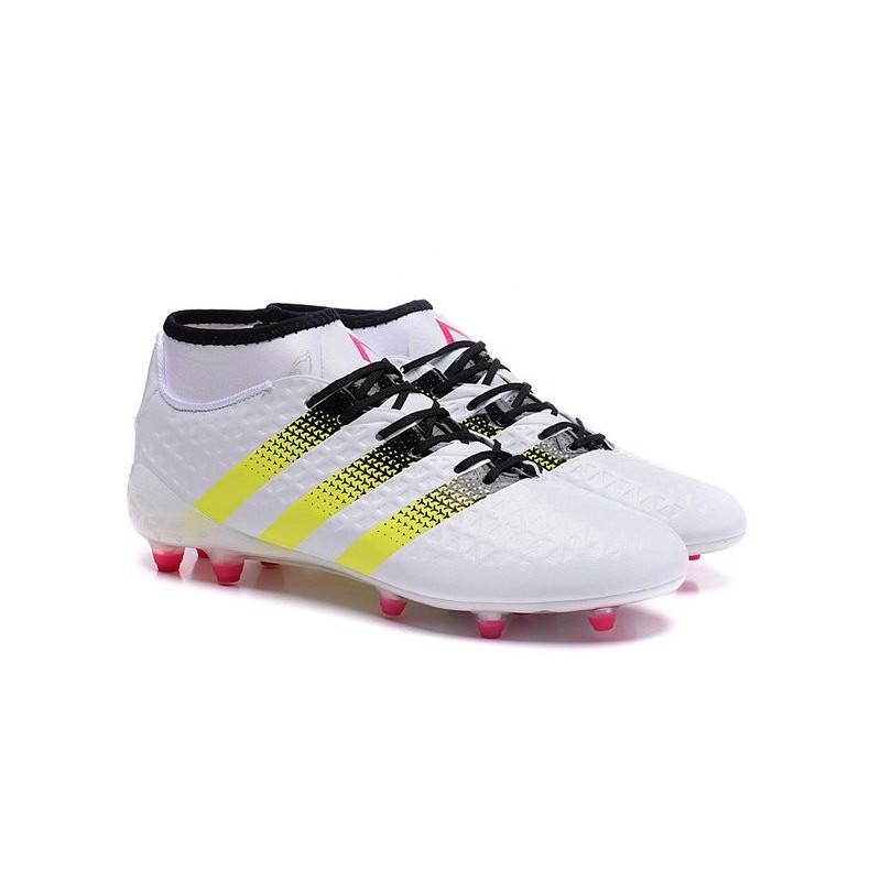 official photos 5b2f3 4c146 adidas ACE 16.1 Primeknit FG AG Chaussures Football Homme Blanc Jaune Rose  ...