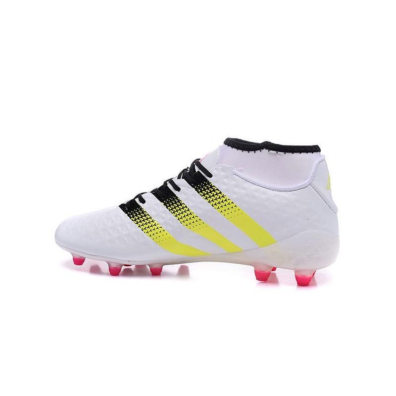 the best attitude 4578b c8d9b adidas ACE 16.1 Primeknit FG AG Chaussures Football Homme Blanc Jaune Rose
