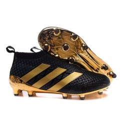 Chaussure Crampons Paul Pogba adidas Ace 16+ Purecontrol FG/AG Noir Or