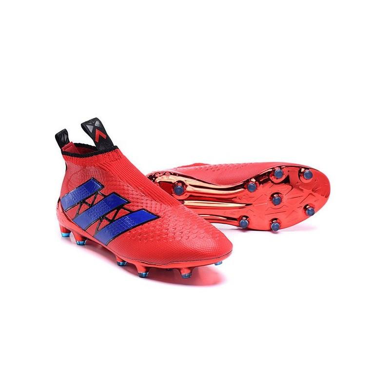 new product dc8c3 35704 Chaussure Crampons adidas Ace 16+ Purecontrol FG AG Rouge Bleu Zoom.  Précédent. Suivant