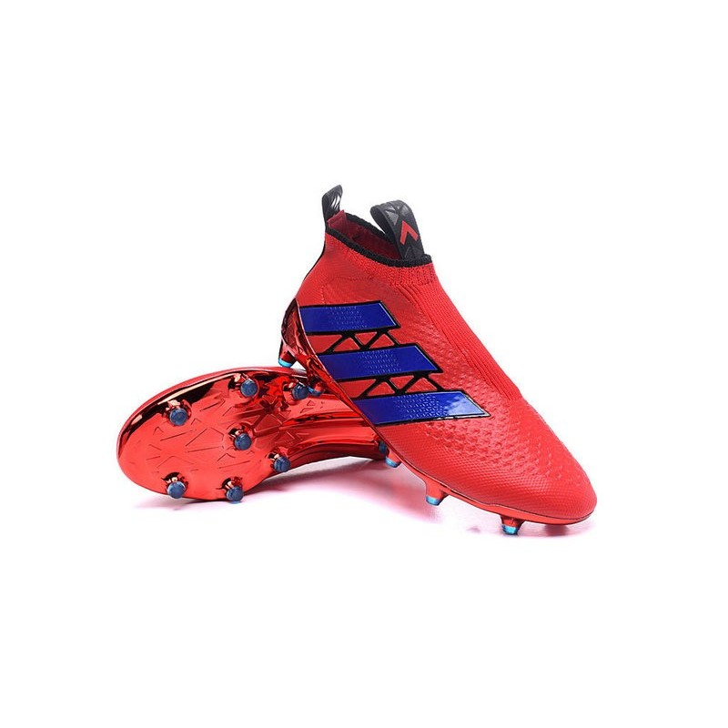 Chaussure Crampons adidas Ace 16+ Purecontrol FGAG Rouge Bleu