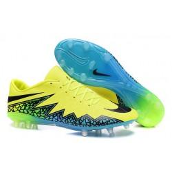 Chaussures de Foot Meilleure Nike Hypervenom Phinish FG Volt Noir Bleu