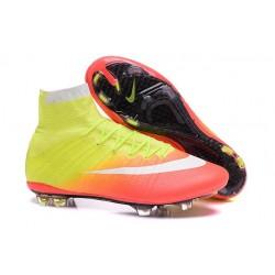 Chaussures Nouveau Nike Mercurial Superfly 4 FG Jaune Orange Blanc