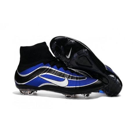 Nouvelles 2016 Chaussures Nike Mercurial Superfly Heritage FG Noir Bleu Blanc