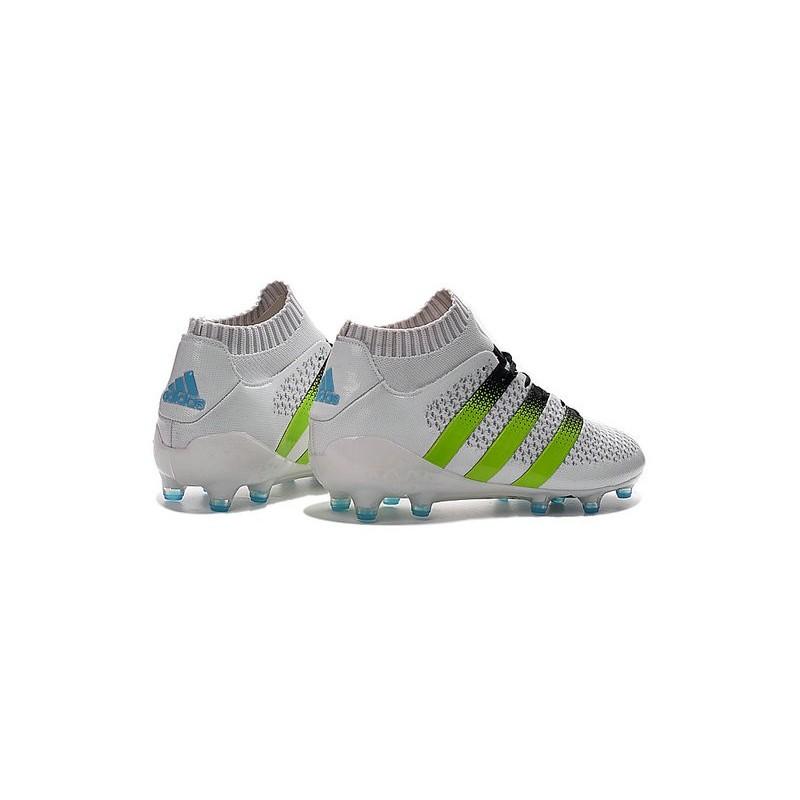 quality design af994 dedb1 amazon adidas ace 16.1 primeknit fg ag chaussures football homme blanc vert  noir 363ca a7277