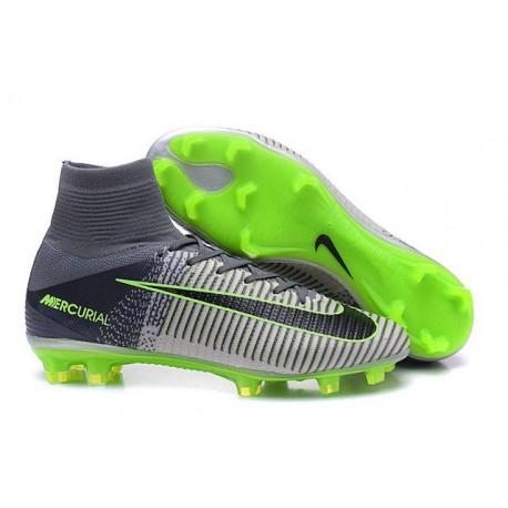 Chaussures de Cristiano Ronaldo Nike Nouvelles 2016 Mercurial Superfly V FG Gris Noir