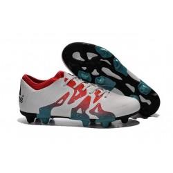 Chaussure de Foot adidas X 15.1 FG/AG Homme Blanc Rouge Bleu