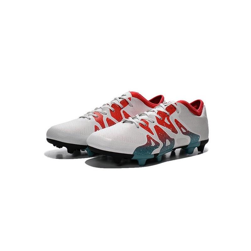 Chaussure de Foot adidas X 15.1 FGAG Homme Blanc Rouge Bleu