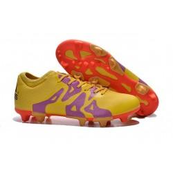 Chaussure de Foot adidas X 15.1 FG/AG Homme Jaune Violet