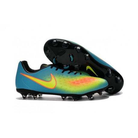 Chaussures Football 2016 Nike Magista Opus II FG Homme Bleu Jaune Orange
