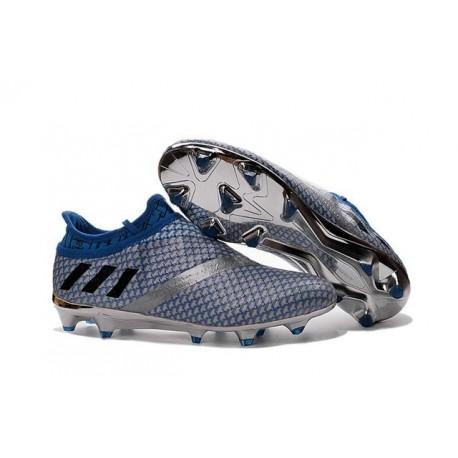 Crampons de Foot Nouvel adidas Messi 16+ Pureagility FG Argent Noir Bleu