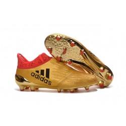 Chaussures de Foot adidas X 16+ Purechaos FG Techfit Doré Rouge