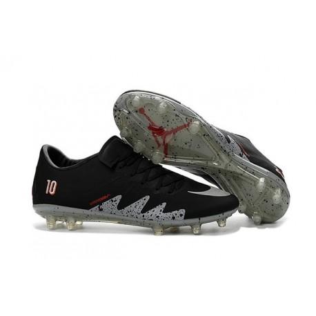 Nike Hypervenom Phinish Neymar x Jordan FG Nouvelles Crampons Football Noir Argent