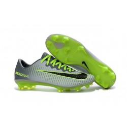 Nouvel 2016 Chaussures Football Nike Mercurial Vapor XI FG Platine Vert Noir