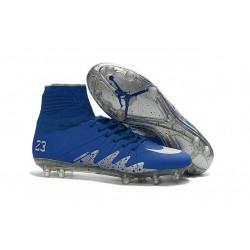 Crampon Nouveaux Nike Hypervenom Phantom II Neymar X Jordan NJR FG Bleu Argent