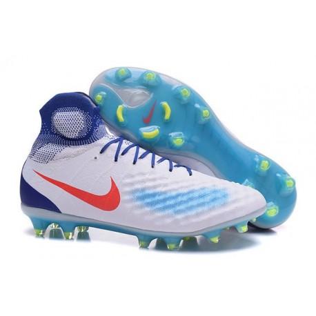Crampons de Foot Nouvelles Nike Magista Obra II FG Blanc Bleu