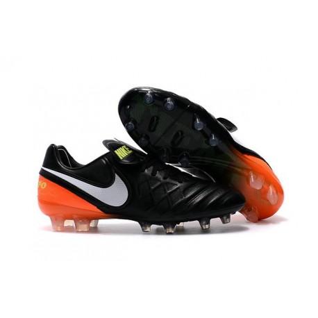 Chaussures de Foot Cuir Nike Tiempo Legend VI FG ACC Noir Orange Blanc