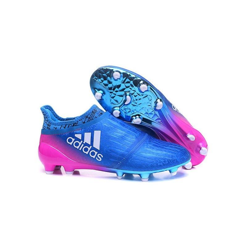 Chaussures de Foot adidas X 16+ Purechaos FG Techfit Bleu Rose
