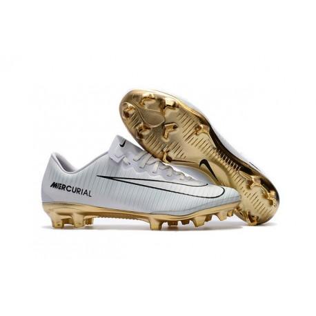 Nike Mercurial Vapor Vitórias 11 CR7 FG Nouveaux Crampons de Foot Blanc Or