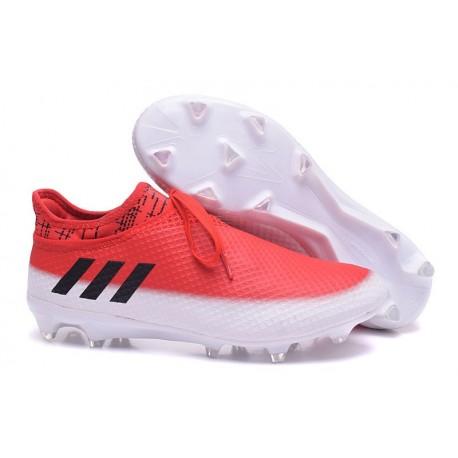 e00786f5c87 Crampons de Foot Nouvel adidas Messi 16+ Pureagility FG Rouge Noir Blanc