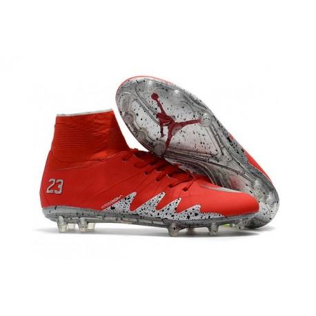 Chaussure Meilleure Nike Hypervenom Phantom 2 FG Neymar Jordan Rouge Argent