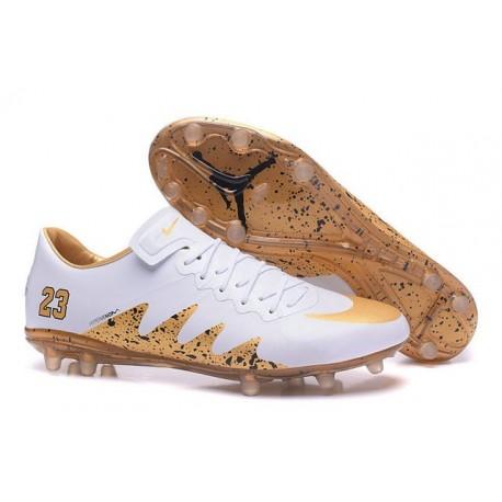 Nike Hypervenom Phinish FG Neymar X Jordan Crampons Football Blanc Or