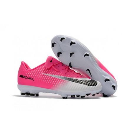 Nike Mercurial Vapor 11 FG Nouveaux Crampons de Foot Rose Blanc Noir