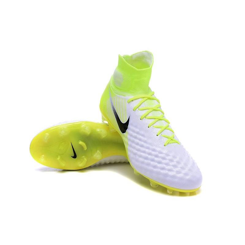 big sale b0fdd a37de Crampons de Foot Nouvel Nike Magista Obra 2 FG Blanc Jaune N