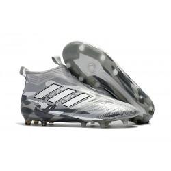 Crampon de Foot Nouveaux adidas Ace17+ Purecontrol FG -Gris Blanc Noir