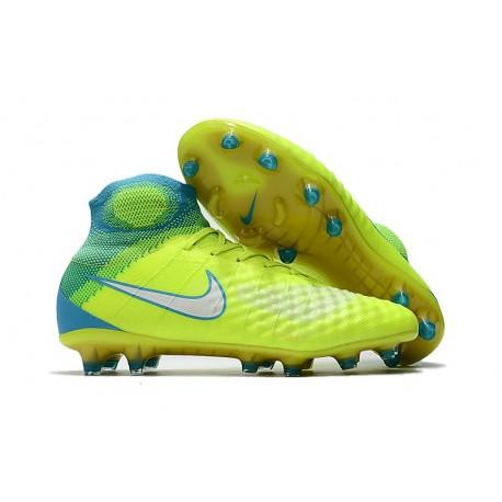 Crampons de Foot Nouvel Nike Magista Obra 2 FG Volt Bleu Chlore