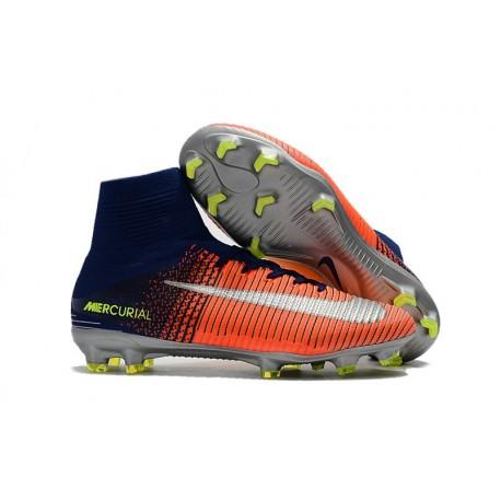 timeless design a229f cbef1 Nike Mercurial Superfly V FG Nouvel 2017 Crampons de Football Bleu Chrome  Orange